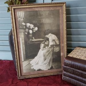 1912 Framed Lithography Print Mother and Daughter